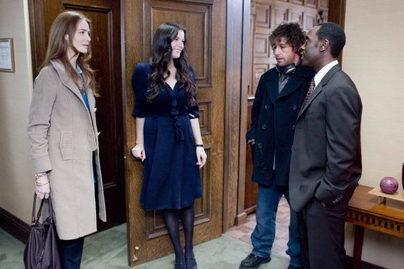 (left to right) Saffron Burrows, Liv Tyler, Adam Sandler, and Don Cheadle star in Columbia Pictures' Reign Over Me.