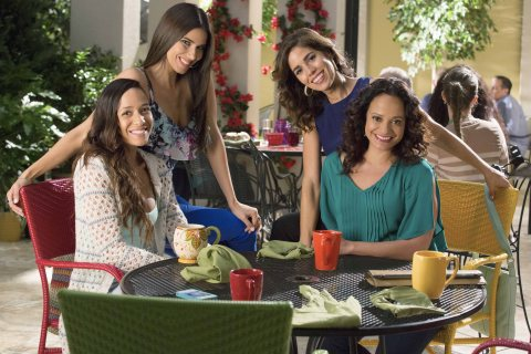 "DEVIOUS MAIDS - ""The Talk of the Town"" - Zoila discovers a secret from Genevieve's past; Rosie struggles with having both Ernesto and Spence in her life; Marisol tries to fight her attraction to Jesse; Carmen is outsmarted by Adrian; and Taylor reaches her breaking point, airing MONDAY, JUNE 29 (9:00-10:00 p.m., ET), on ""Devious Maids"" airing on Lifetime Television. (ABC STUDIOS/Bob Mahoney) DANIA RAMIREZ, ROSELYN SANCHEZ, ANA ORTIZ, JUDY REYES"