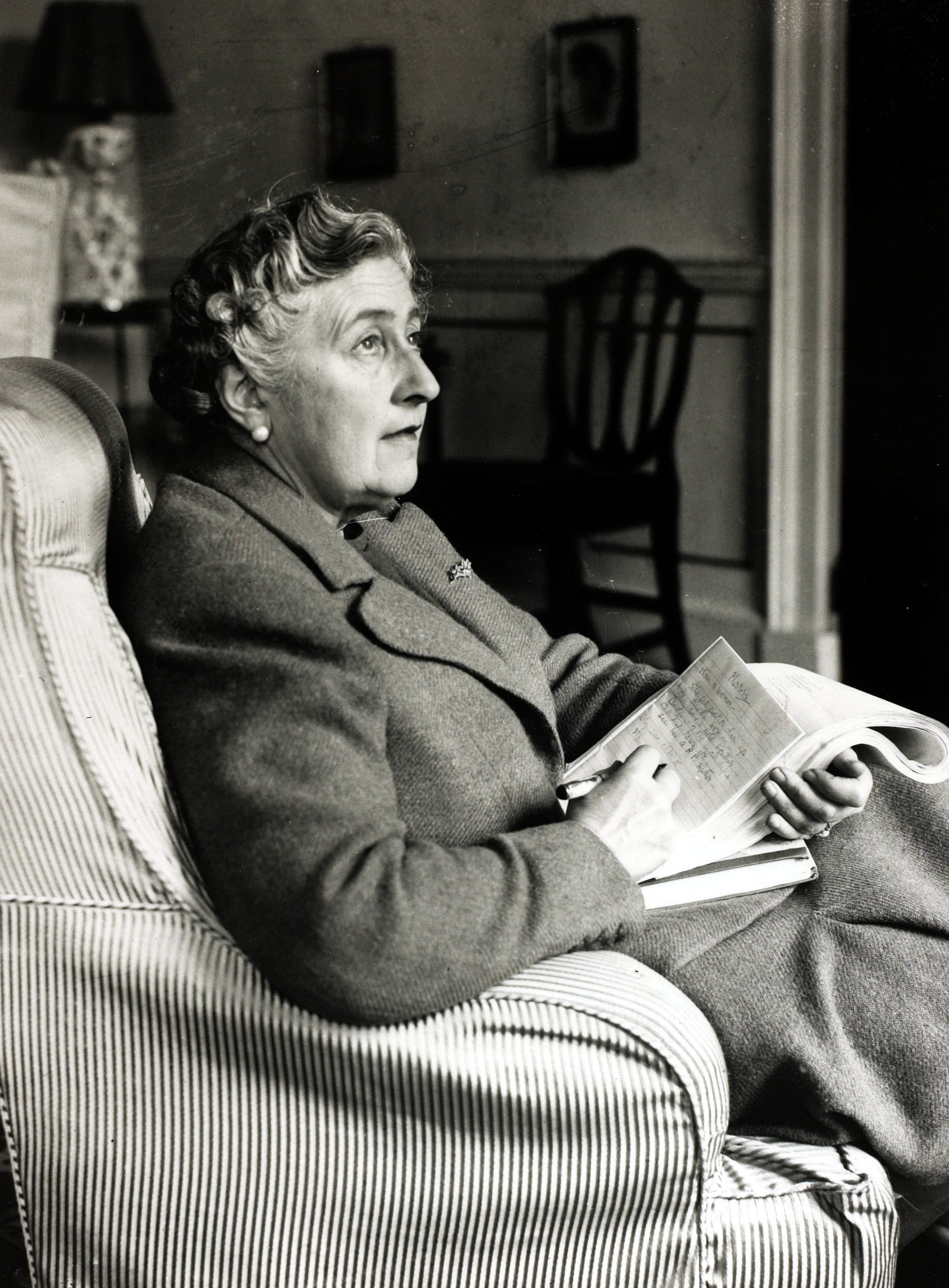 "Literature, Personalities, pic: January 1946, English crime writer Agatha Christie at her home Greenway House, Devon, Agatha Christie,(1890-1976), the world's best known mystery writer, famous for her Hercule Poirot and Miss Marple stories, and for her plays including ""The Mousetrap"" (Photo by Popperfoto/Getty Images)"