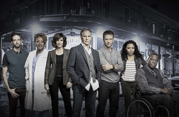 """Season 2 cast of the CBS drama NCIS: NEW ORLEANS, Tuesdays (9:00-10:00 PM, ET/PT) on the CBS Television Network. Pictured L-R: Rob Kerkovich as Sebastian Lund, CCH Pounder as Dr. Loretta Wade, Zoe McLellan as Special Agent Meredith """"Merri"""" Brody, Scott Bakula as Special Agent Dwayne Pride, Lucas Black as Special Agent Christopher LaSalle, Shalita Grant as Sonja Percy, and Daryl Chill Mitchell as Investigative Computer Specialist Patton Plame Photo: Monty Brinton, Cliff Lipson, and Skip Bolen/CBS ©2016 CBS Broadcasting, Inc. All Rights Reserved"""